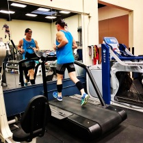 Treadmill test. Measuring hip alignment and foot strike data.